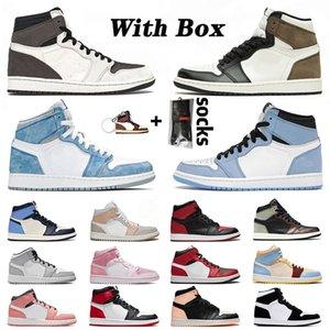 NikeAirJordanRetro1Jordans1sJumpmanAJ High Com Box off white tênis de basquete das mulheres dos homens Milan Mid Chicago Toe alta escuro Mocha Sneakers Retro Pink