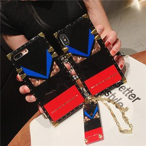 Para iPhone Série Luxo Quadrado Impermeável Espelho Glitter Telefone para iphone x XS XR 11 Pro Max