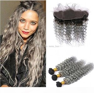 8A Malaysian Deep Wave Grey Human Hair 3 Bundles With Lace Frontal 2 Tone 1B Gray Curly Ombre Virgin Hair Weaves Dhl Free