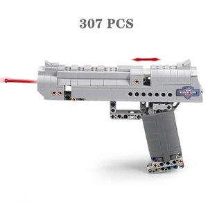 DIY Gun Model Building Blocks Desert Eagle Pistol MK23 Uzi Submachine Military Ww2 Small Bricks Assembly Toys for Technic City Swat Children Boy Like