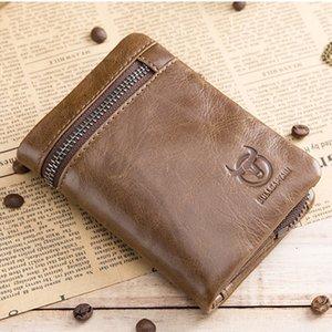Короткие три-слова пряжки молнии кошелек мужская кожа кожа кожа монеты монеты денежный мешок держатель визитной карточки RFID 4.7