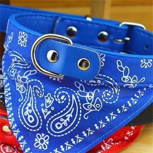 dog collar lead Adjustable Pet Dog Cat Scarf Bandana Collars Neckerchief Brand New Mix Colors dog collars 579 R2