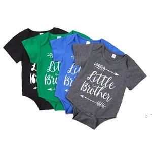 Bebek Bebek Erkek Giysileri Romper Kız Mektup Baskı Kısa Kollu Tulum Babys Tırmanma 100% Pamuk Yaz Kumaş BWC7373