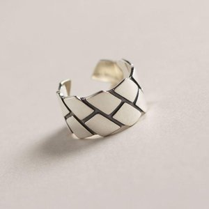 Cluster Rings Retro Authentic S925 Sterling Silver FINE Jewelry Rhombus Geometric Band Wider Long Ring Adjust TLJ559