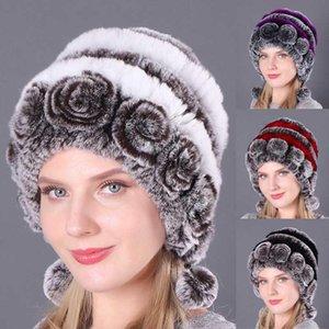 New Women Winter Hat Natural Fur Pom Ball Warm Luxury Floral Knitted Hat Cap Elastic Ladies Thicken Earmuffs Skullies