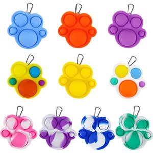 Fidget Simple Dimple Toy Keychain Bear Claw Push Sensory Bubble Pop It Anti Stress Decompression Board Key Ring Bags Pendant DHL