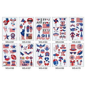 Patriotic Days Party Decoration Temporary Tattoo Stickers Fourth of July America Independence Day Red White Blue RRD6774