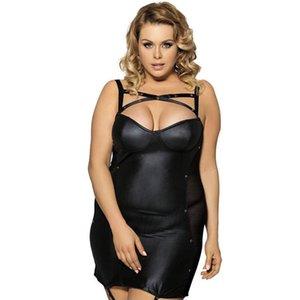 Wholesale Sleeveless Side Mesh Sexy Club Wear Bodycon Dress Sheath Black Cross Strap Of Bust Sexy Underwear Leather Dress