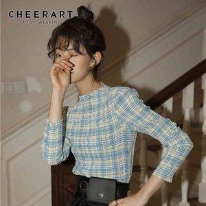CHEERART Plaid T Shirt Women Permanent Pleat Vintage Long Sleeve Crop Top Tee Shirt Femme Underwear Clothes 210408