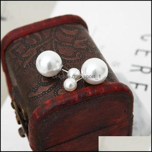 Stud Earrings Jewelryclassic Double-Sided Ball Pearl Ear Studs With Support For Mixed Batch Wholesale Drop Delivery 2021 Ldqlq