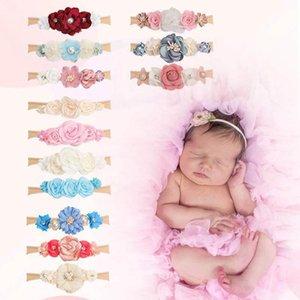 Girls Hair Accessories Baby Headbands Flower Pearl Children Kids Elastic Nylon Sweet Princess Hairband Newborn Head Bands 3Pcs Sets B6966