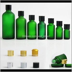 저장 병 항아리 x 여행 빈 서리 낀 녹색 유리 병 컨테이너 vial tamper revident black gold sier cap 5 10 15 20 30 50 100 Tsesq