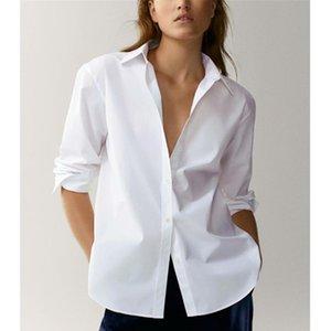 Marchito Inglaterra estilo oficina señora moda simple poplin sólido blanco blusa mujer blusas mujer de moda 2021 camiseta tops trajes de mujer Blaze