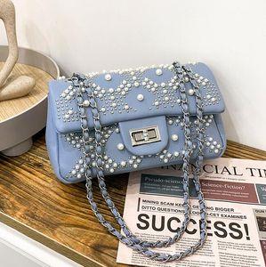 Factory wholesale leather messenger bags sweet little fresh diamond chain bag street personality rivet handbags Pearl beaded women fashion handbag