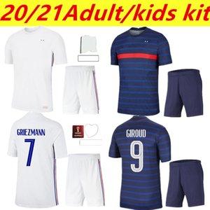 20 21 hommes Kit Kit Kit + Chaussette Home Jersey de football 21-222 A 22 Mbappe Grieuzmann Kante Pogba Maillots de Maillot Equipe