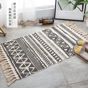 Nordic Cotton And Linen Knit Rug Ethnic Style Carpet Tassel Small Bedroom Kitchen Rugs Mat Boho Washable Home Decoration Carpets