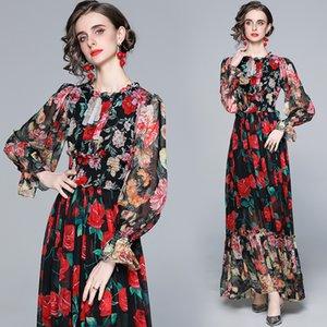 Ultima pista stampata Elegante Abito floreale 2021 Fashion Flare Sleeve Crew Neck Office Holiday PROM Pleated Ladies Designer Maxi Abiti Autunno Inverno Donne Vestiti