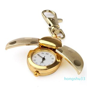 Ladybug bolsillo llavero mini colgante reloj reloj oro escarabajo dama bag bag dial cuarzo analógico bolsillo relojes oro alas de langosta llavero clip