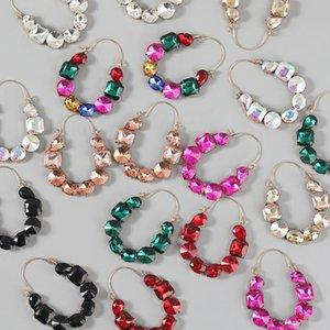 Dangle & Chandelier JIJIAWNEHUA Multi-color Water Drill Women's Crash Geometric Earrings Dinner Party Fashion Declaration Jewelry Accessorie