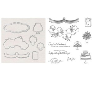 Painting Supplies Prettiest Birthday Stamp Set Coordinating Dies Cake, Balloons And Flowers Clear Stamps For DIY Scrapbooking Paper Card Cra