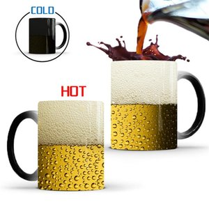 Funny Beer Bubble Color Changing Mug Creative Thermochromic Eco-Friendly Ceramic Cup Home Office Drinkware Water Tea Mugs