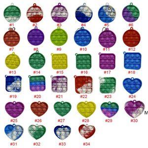 Simple Dimple Keychain Push Bubble Pop It Fidget Toys Poppers Decompression Toy Fidgets key chain Anti Stress Board DHD6172