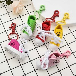 5 Colors Mini Silicone Canvas Shoes Keychain Bag Charm Woman Men Ring Holder Gift Sports Sneaker Key Chains Whole