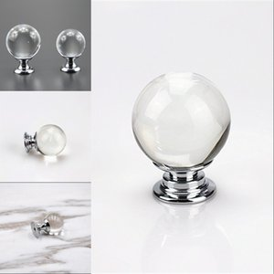 HOT 20mm 25mm 30mm 40mm Glass Ball Drawer Cabinet Knobs Pulls Silver Chrome Crystal Ball Dresser Door Handles qylAPI 550 V2