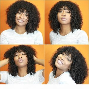 Malaysian Afro Kinky Curly Short Human Hair Bob Wigs For Black Women Best Guless Short Curly Lace Wigs with Bangs