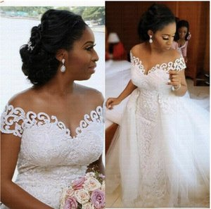 Amazing Off the Shoulder Arabic Mermaid Wedding Dress 2021 With Detachable Train Lace African Wedding Gown