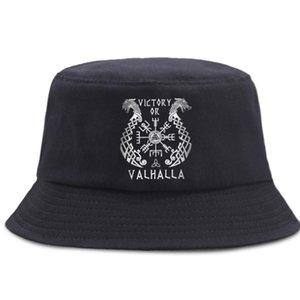 Wikinger Sieg von Valhalla Fisherman Hut Unisex Baumwolle Panama Caps Outdoor Sonnencreme Strand Sonnenkappe Faltbare Straßeneimer Hüte