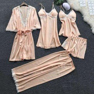 Women Pajamas 5pcs Satin Sleepwear Set Pijama Silk Home Wear Embroidery Sleep Lounge Pyjama With Chest Pads Pyjama Femme 20201