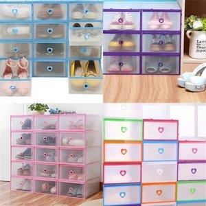 Frame Shoe Storage Box Peach Heart Style Transparent Drawer Organizer Case Man Woman Plastic Shoes Rack 5rm2 L1 0I3F XBAJ