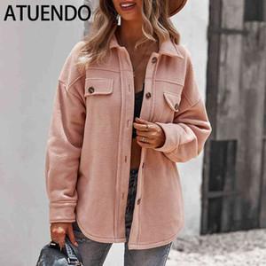 atuendo 가을 패션 핑크 재킷 여성을위한 코트 빈티지 단단한 소프트 섹시한 아가씨 의류 캐주얼 겨울 따뜻한 벨벳 오버 사이즈 코트