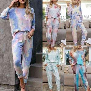 Femmes 2 pièces Vêtements Set Casual Fashion Pocket Pocket Vogue Sweat-shirt + Pantalons longs Tracksuit pour Silk Satin Pyjamas Ensemble Sweat Suites