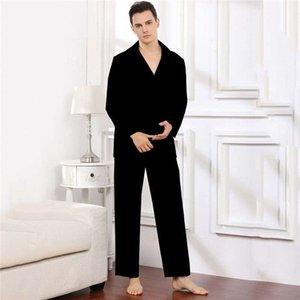 Jacquard Letter Mens Sleepwear Pajamas Sets Silky Satin Men Home Clothes Long Sleeve Nightwear For Male