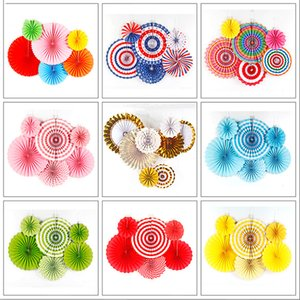 Chinese Printing Vintage Wheel Tissue Paper Hanging Fans Flower Craft Birthday Party Wedding Baby Shower Setting Wall Decoration GWF9037