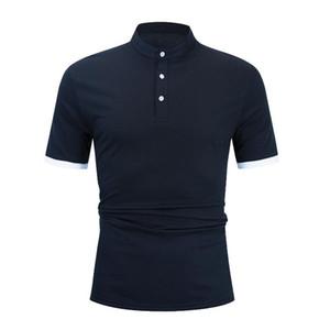 Polos de los hombres 2021 Primavera y verano Código europeo de color sólido Casual moda de algodón suelto camisa de manga corta camiseta