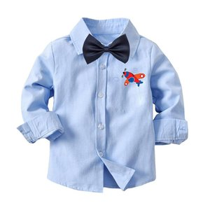 Shirts Spring Autumn Fashion Boutique Children Kids Toddler Boys Printing Cotton Clothes Clothing Blue Long Sleeve Blouse Shirt Tops