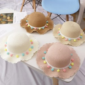 Ins Fashion Hats Children's Sunscreen Color Ball Ornament Cute Casual Beach Straw Hat And Bag Suits
