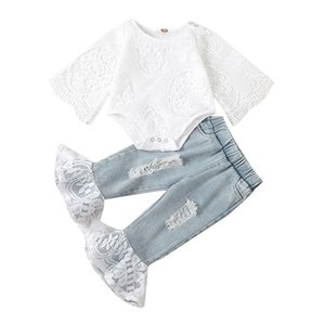 kids Clothing Sets girls outfits infant toddler Lace long sleeve Tops+Hole denim Flared pants 2pcs set Spring summer fashion Boutique baby Clothes