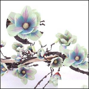 Decorative Wreaths Festive & Supplies 9Dot84Ft Vine Silk Magnolia Garland Artificial Flowers For Diy Craft Home Garden Wedding Party Decor1