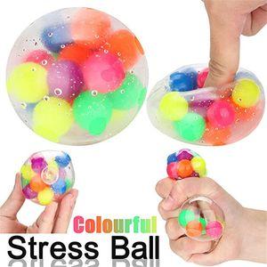 Fileget 장난감 불안 릴리버 재미있는 감각 공, 짜내다 공 물 구슬 스트레스 구호 어린이와 성인을위한 다채로운