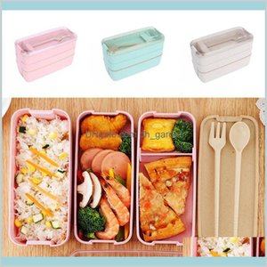 Kitchen Housekeeping Organization Home Garden Healthy Material Lunch Box 3 Layer 900Ml Wheat St Bento Boxes Microwave Dinnerware Food