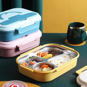 Stainless Steel Insulated Lunch Box Student School Single-Layer 3 grid LunchBox Tableware Bento Food Container Storage Breakfast OWE9394