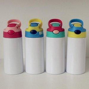 Sublimação Reta Tumbler Garrafas de Água Crianças Cartoon Cartoon Transferência Térmica Impressão Flip Cups Cor UV Alterando Tumblers Caneca de Aço Inoxidável WMQ1074