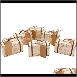 Gift Wrap 50Pcs Mini Suitcase Box Party Favor Candy Vintage Kraft Paper With Tags And Rope For Weddingtravel Themed Partybr Jytzi L2Wwd