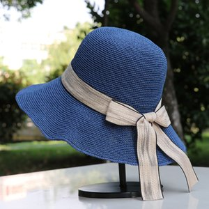 2021 korean style summer all match straw hat wholesale bowknot foldable beach sun hats handmade casual fisherman cap women caps fashion bag sunglasses