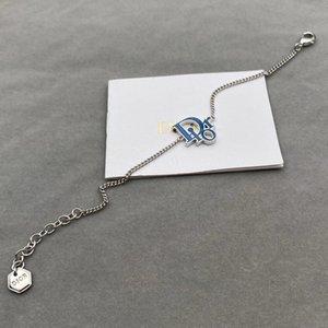 Backs Earrings d Family 21 Blue Enamel Letter Bracelet Women's Summer Accessories Hip Hop Indifference Fashion Decorative