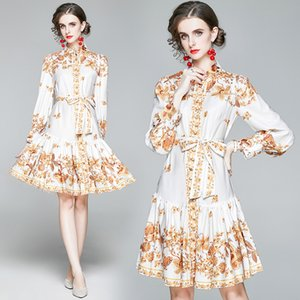 2021 Designer Printed White Dress Runway Ladies Fashion Puff Sleeve Mock Neck Ribbon Prom A-Line Mini Dresses Slim Business Party Office Spring Autumn Women Clothes